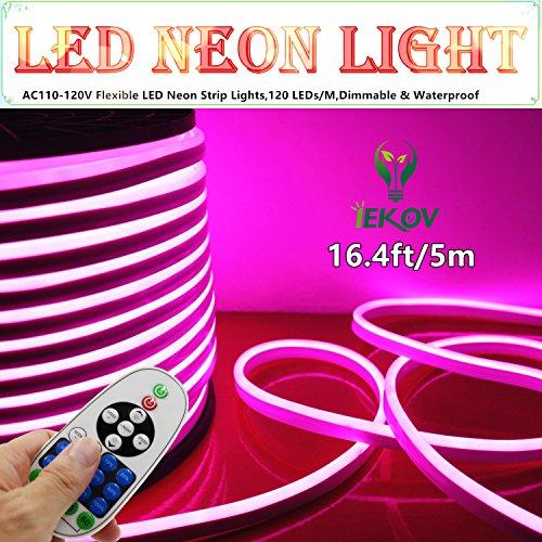 LED NEON Light, IEKOVTM AC 110-120V Flexible LED Neon Strip Lights, 120 LEDs/M, Waterproof 2835 SMD LED Rope Light + Controller Power Cord for Home Decoration (16.4ft/5m, Pink) (Led Cord Light)