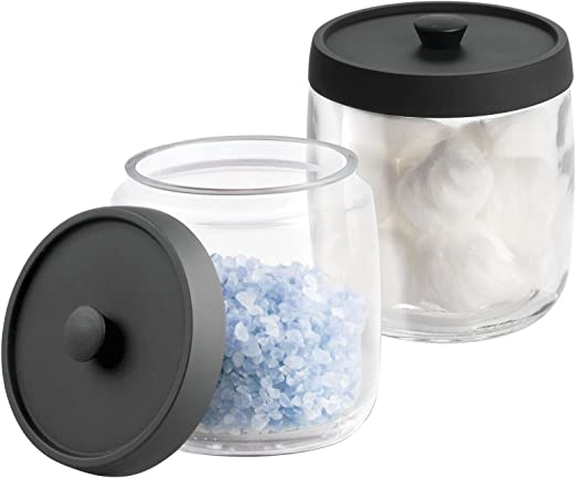mDesign Bathroom Vanity Glass Storage Organizer Canister Apothecary Jar for Cotton Swabs, Rounds, Balls, Makeup Sponges, Blenders, Bath Salts - 2 Pack - Clear/Matte Black