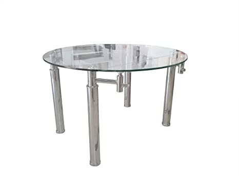 BUDMOSUR Mesa de comedor de cristal templado rectangular extensible ...