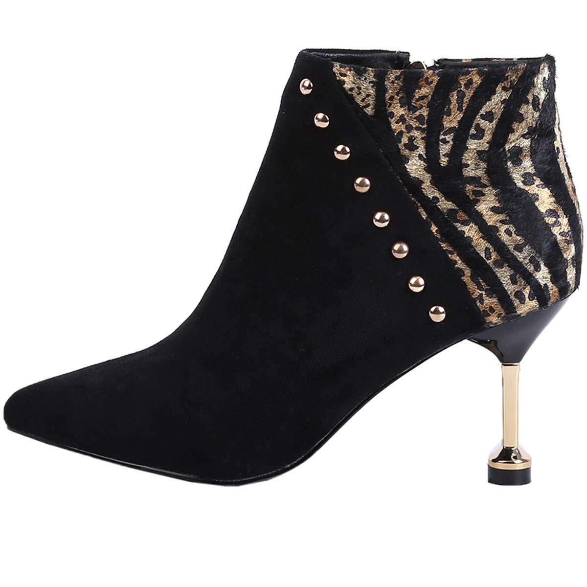 Noir GTVERNH-des Couleurs Rivet a souligné 7cm Talons Bottes de Nus des Bottes et Chaussures à Talons Martin Slim Bottes des Chaussures pour Femmes Mode Thirty-nine