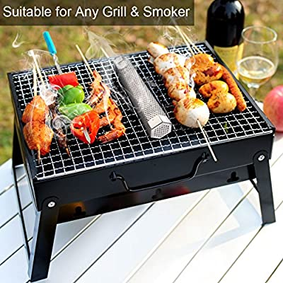 Hpory Pellet Smoker Tube 12'' Stainless Steel for Any Grill or Smoker, Cold/Hot Smoking, Hexagonal BBQ Smoke Generator