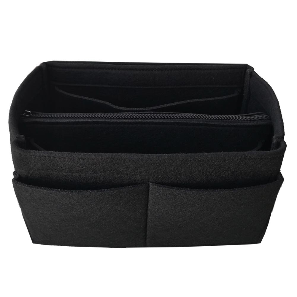 APSOONSELL Felt Purse Insert Handbag Organizer Multi Pocket Bag in Bag with Removable Bag,Black-M