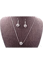 Tibetan Silver Carved Lucky Beads necklace and earrings Jewelry Set + White gold plated chain 18''
