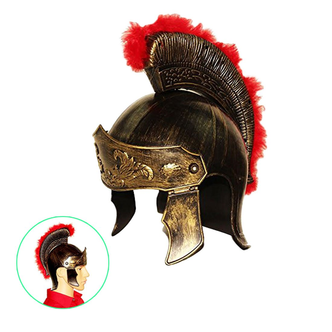 dazzling toys Roman Legion Gladiator Helmet Hat -For Big Kids, Teens and Adults.,Gold,Medium by Dazzling Toys