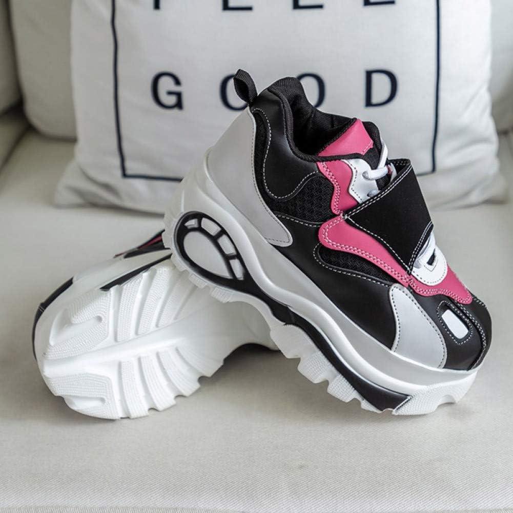 ASTAOT Zapatillas De Deporte para Mujer Zapatos para Correr Blancos Zapatos Deportivos para Aumentar La Altura De La Mujer Zapatos para Caminar para Mujer Rosa-Black,5.5: Amazon.es: Zapatos y complementos