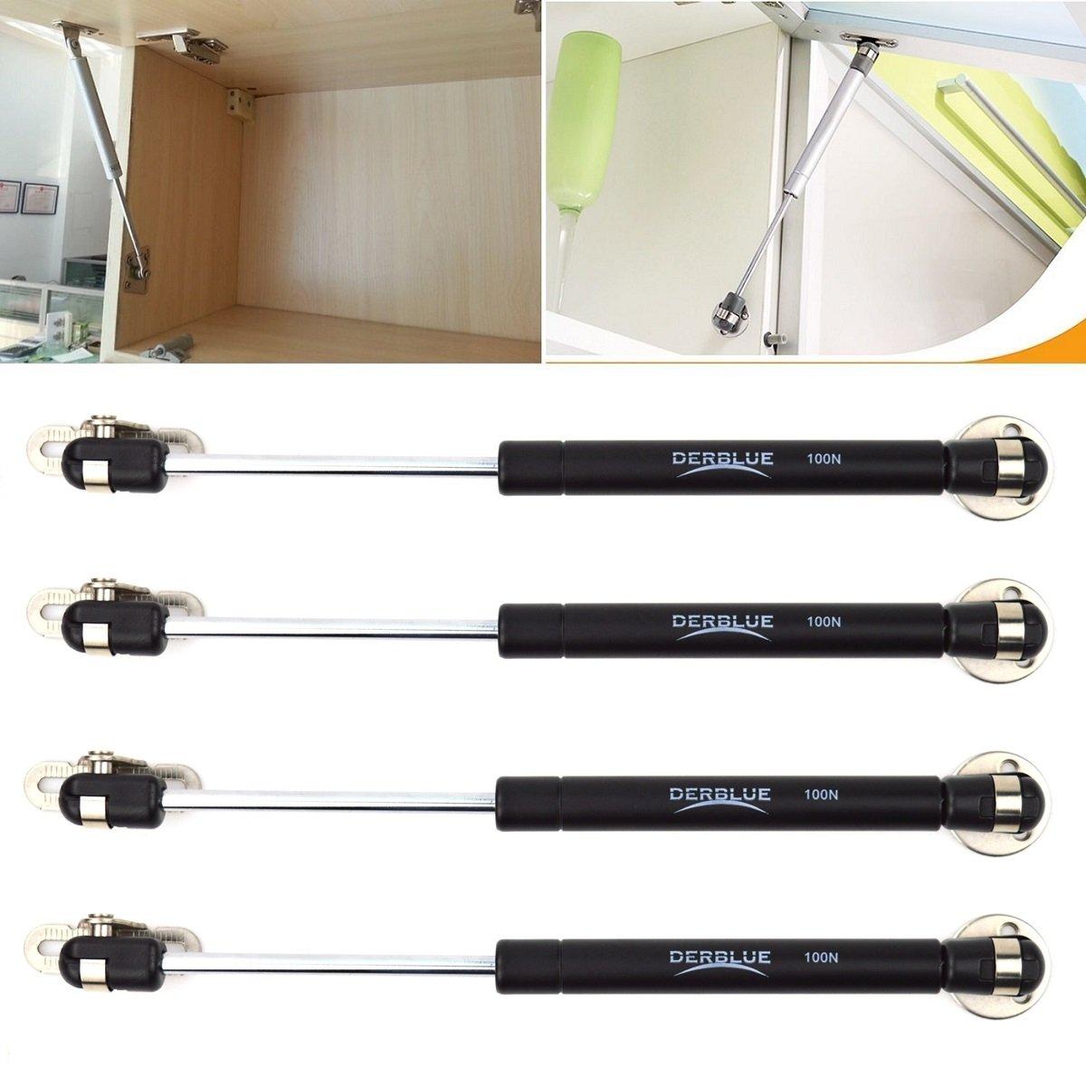 DerBlue 4 Pcs 100N 22.5lb Gas Strut Lift Support Cabinet Door Lift Pneumatic Support black