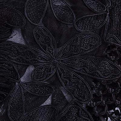 Vijiv Women's 1920s Black Shawl Art Deco Embroidered Fringe Evening Cape Bolero Flapper Cover Up