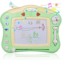 Meland Magnetic Drawing Doodle Board for Kids Toddlers with Light and Music (Green)