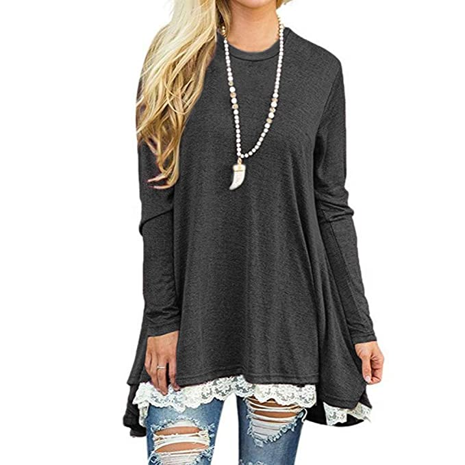 ac0ed669f71 Lover-Beauty Women Long Sleeve Layered Tunic Round Neck T-Shirt Autumn Top  Blouse Dress  Amazon.co.uk  Clothing