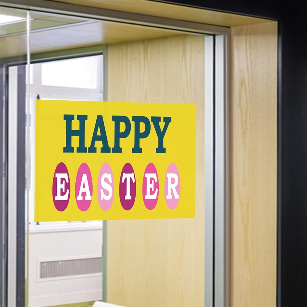 Decal Sticker Multiple Sizes Happy Easter Yellow Holidays and Occasions Easter Outdoor Store Sign Yellow 27inx18in Set of 5