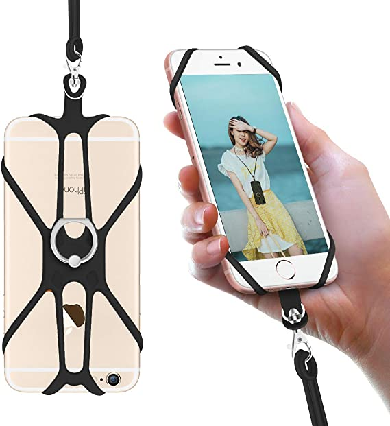 Universal Phone Lanyard Holder and Ring Grip Silicone Cell Phone Lanyard Neck Strap and Phone Ring Holder Stand Compatible with Most Smartphones
