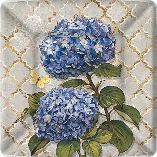 Blue Square Luncheon Plate - Boston International PEG783100 IHR Square Dinner Paper Plates, 10 x 10-Inches, Blue Heirloom Flower