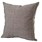 Decorative Pillow Cover - Burlap Linen Throw Pillow Case Cushion Cover Home Decorative Solid Square Pillowcase, Thick, Luxury, Handmade with Invisible Zipper for Sofa Couch Bed (20 x 20 Inches, Beige/Light Coffee)