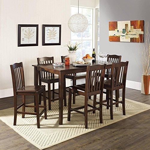 New - 5-Piece Counter Height Dining Set, Dark Rustic Mahogany