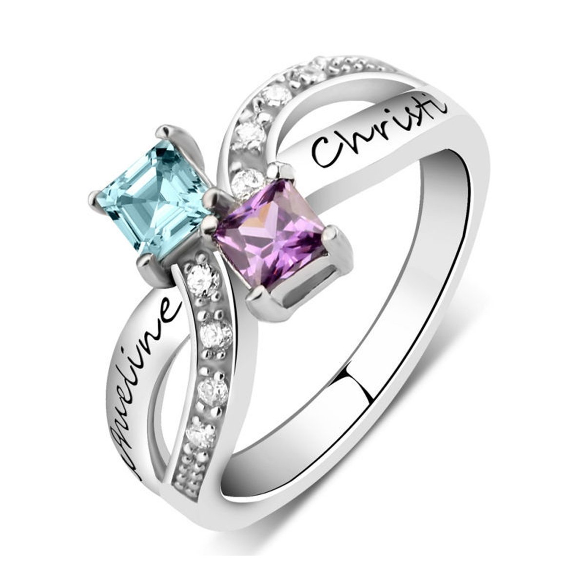 Quiges My Creation Sterling Silver 2 CZ Birthstone Personalised Engraved Name Double Twisted Stacking Custom Ring Size Various Sizes and Colors