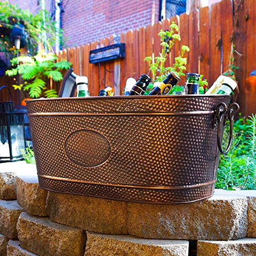 BREKX 16436 Colt Hammered Copper Finish Beverage Party Tub & Wine Chiller - Large - Galvanized Bronze