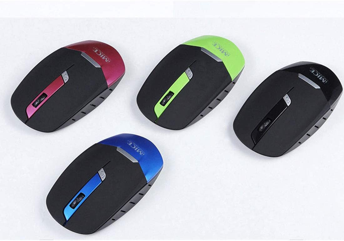 Color : Purple GUODLIN Wireless Office Mouse with Unique Silent Click 1600 DPI Ergonomic Grips 4 Button Design 6 Colors Can be Choose