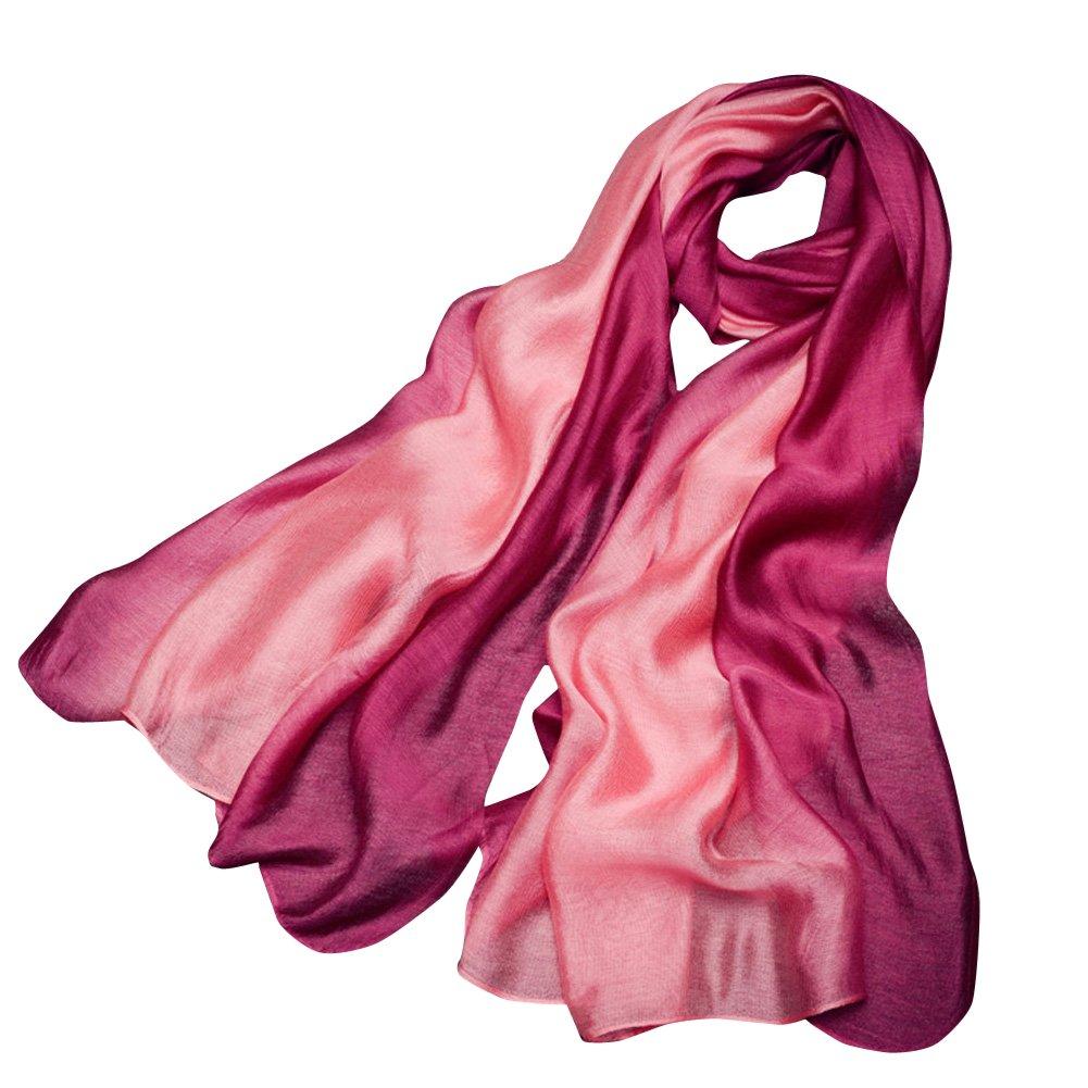 SaiDeng Sciarpa Di Seta Gradient Scialle Foulard Donna Eleganza Mussola Di Seta Rose Rosso