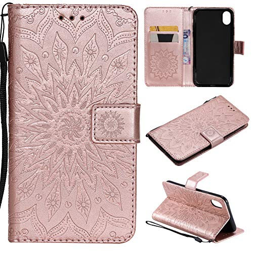 EC-Touch iPhone XR Leather Wallet Case, iPhone XR PU Leather Protective Case Embossed Sun Flower Folio Magnetic with Card Holder Kickstand and Flip Case (Rose ()
