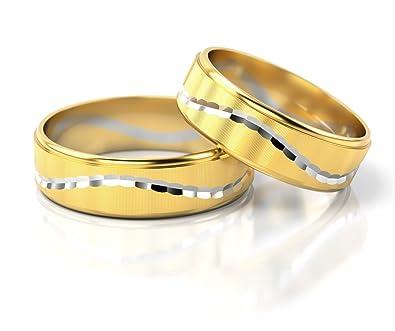 58f4573ea755 Ringe-der-Welt Anillos De Boda Oro Blanco Oro amarillo S-829  Amazon.es   Joyería