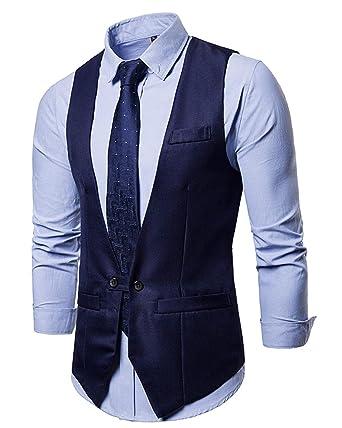 Veste Costume Jolime Homme Sans Décontractée Bouton Mode Gilet 2 Rx1Aq