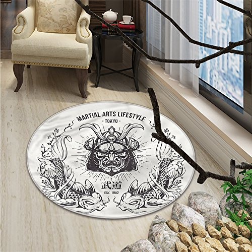Asian Round Area Rug Traditional Japanese Samurai Mask Koi Fish Martial Arts Lifestyle Tokyo TypographyOriental Floor and Carpets Coconut Grey ()