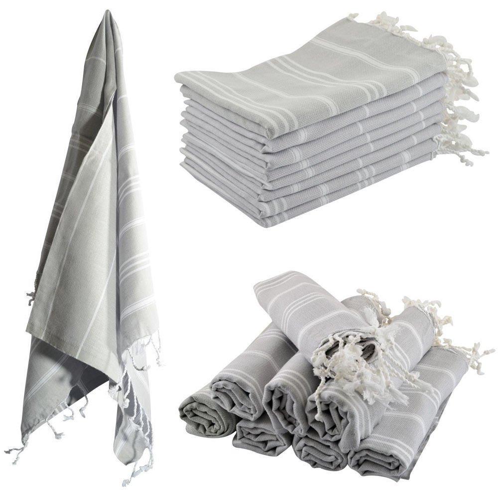 >Set Of 6< Turkish Hamam Peshtemal Cotton Bath Face Towel Spa Bath >Silver Grey<
