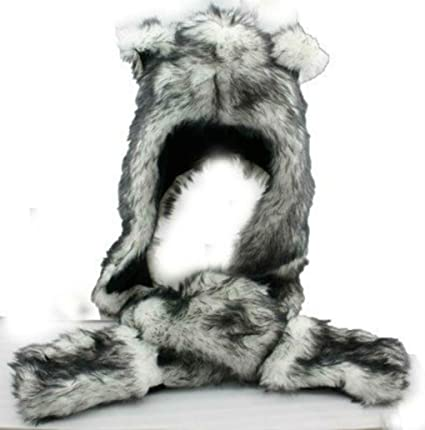 Amazon.com  White Wolf Hood Faux Fur Hat with scarfs mittens   paws Spirit  3 in 1 by Hatbutik  Toys   Games ae32a7ce56fa