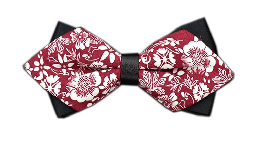 Secdtie Mens Cotton Floral Printed Bow Tie Many Colors /& Styles Available