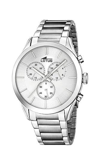 27ccbd1ac Lotus Reloj de Cuarzo Hombre con Pulsera de Acero Inoxidable de Plata  cronógrafo y Plata 18114/1: Amazon.es: Relojes