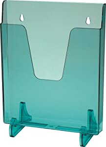 Acrimet Pocket File Holder Vertical Design Brochure Display (for Wall Mount or Countertop Use) (Removable Supports Included) (Letter Size) (Clear Green Color)