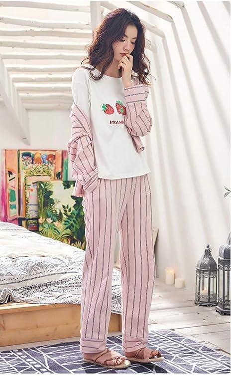 baijuxing Pijamas Pijamas Mujer Primavera y otoño 100% algodón Manga Larga Dulce Servicio de hogar Camisa a Rayas Cardigan de algodón 3 Piezas Conjunto, M: Amazon.es: Hogar