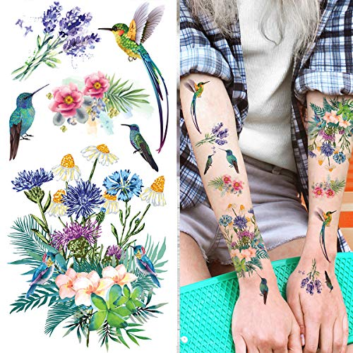 Supperb Temporary Tattoos – Colorful Summer Tropical Plants Flower Bouquet Birds hummingbird (Set of 2)