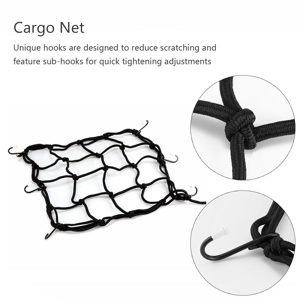 TiooDre Cargo Nets Hooks for Luggage Motorcycle Helmet 30 x 30 cm Heavy-Duty Mesh Net Web Mesh Black