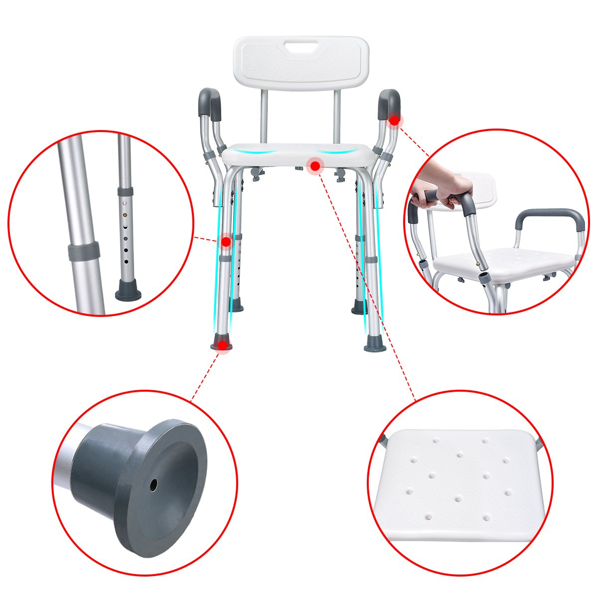 Health Line Tool-Free Assembly Shower Chair Bath Bench Stool Adjustable Height with Removable Back and Arms & Non-Slip Feet - w/Bonus Loofah Back Scrubber by HEALTH LINE MASSAGE PRODUCTS (Image #3)
