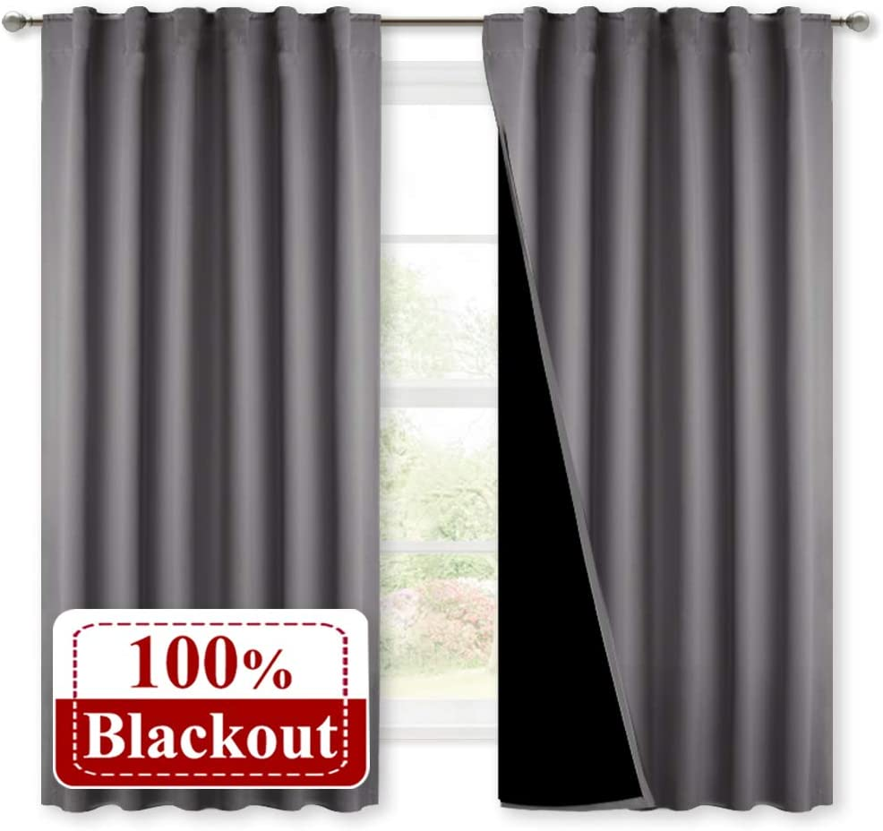 NICETOWN 100% Blackout Curtains with Black Liners, Rod Pocket & Back Tab Thermal Insulated 2-Layer Drapes, Energy Efficiency Window Draperies for Bedroom (Grey, 2 Panels, 52 inches W by 63 inches L)