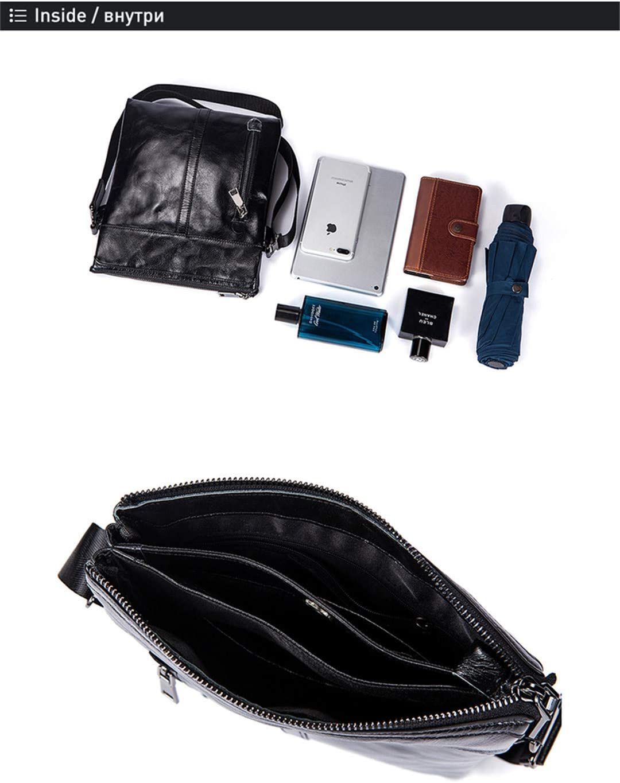 Crossbody Men Messenger Bag Leather Crossbody Bags Vintage Shoulder Bags Zipper Black