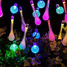 Solar String Lights Waterproof 20ft 30 LED 15 Water Drop & 15 Crystal Ball Lights for Outdoor Décor KEEDA® (Multicolor)