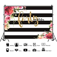 DaShan 7x5ft Polyester 40th Birthday Backdrops Flower Black and White Stripes Background for Women Forty and Fabulous Birthday Party Photography Roses Lady Fabulous Birthday Banner Photo Props