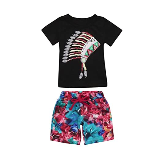09d139f2a Amazon.com  DIGOOD Toddler Baby Boys Indian Tribes T-Shirt Tops+ ...