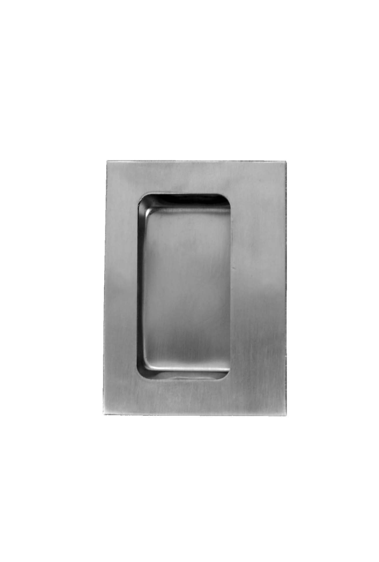 Don-Jo 1848 16 Gauge Stainless Steel Flush Cup Pull, Satin Stainless Steel Finish, 3-1/2'' Width x 4-3/4'' Height x 3/4'' Depth