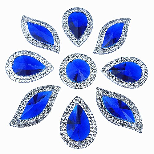Big S Drop Round Mix Shape Blue Clear 2 Holes Sew On Acrylic Rhinestones Flatback Beads Stones Sewing For Clothing Wedding Dress Decorations 60PCS (Clear Blues Shape)
