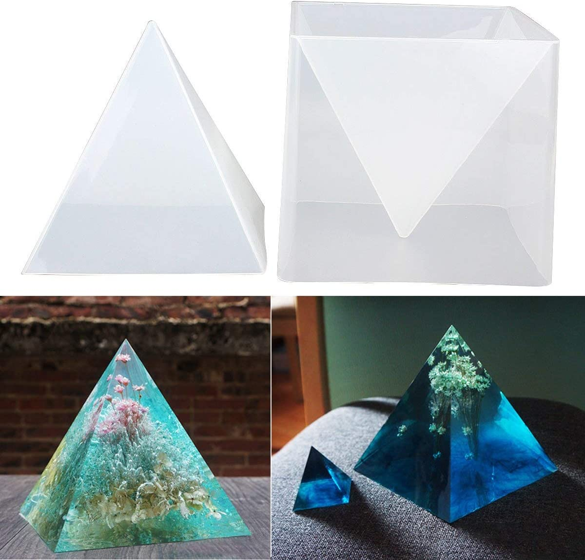 WAOving Super Pyramid Silicone Mould Resin Craft Jewelry Crystal Mold with Plastic Frame