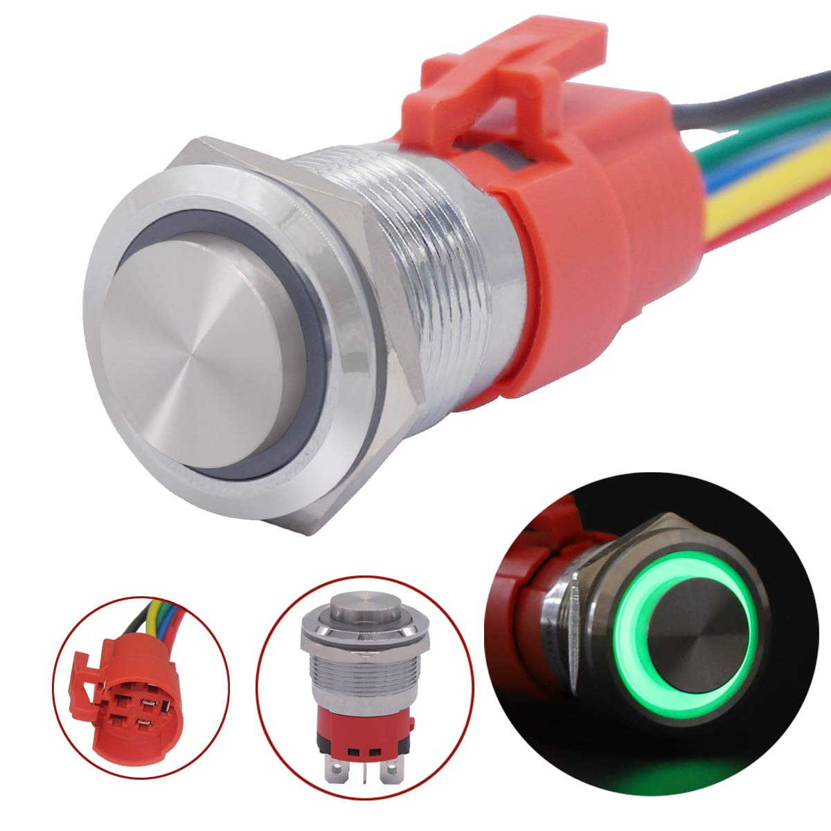 LED Ring Switch 1NO 1NC with Wire Socket Plug YJ-GQ19BH-L-G Green TWTADE 19mm IP65 Waterproof Latching High Head Metal Push Button Switch 3//4 5A DC12V Stainless Steel Shell 5 Year Warranty