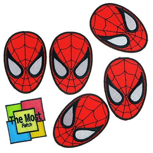lot-of-6-5-1-spiderman-red-head-movies-superhero-logo-embroidered-iron-sew-on-patch-variations