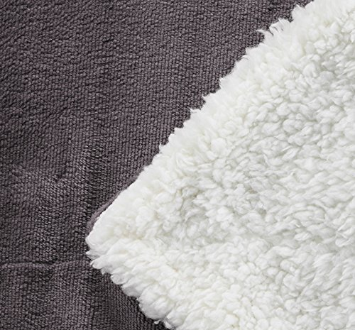 Northpoint Cashmere Velvet Reverse to Cloud Sherpa Throw, Charcoal 50 X 60 inches