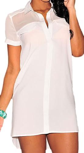 Frieda Fashion - Camisas - Túnica - Manga corta - Semitransparente - para mujer
