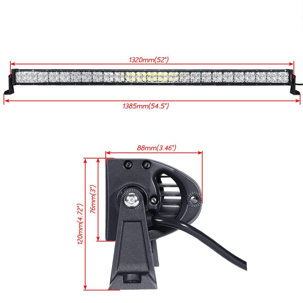 Auxbeam 52 Inch Cross Series Led Bar Driving Light With Wiring 12v Leds In Drl Straight Dual Row 300w Spot Beam Flood Mask Combo Harness
