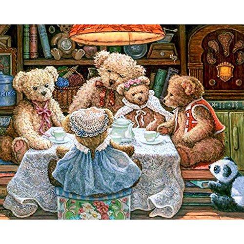 zhui star DIY round diamond painting kits for adults full drill cross stitch Teddy bear family home decoration 40x30CM