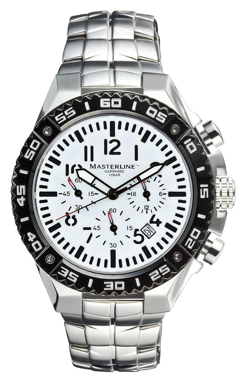 Masterline1966 Fliegeruhr Herren Chronograph 100m Saphirglas Massiv Silver ML06117012
